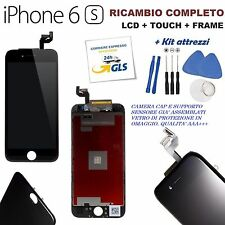 TOUCH SCREEN + LCD DISPLAY RETINA + FRAME PER APPLE IPHONE 6S VETRO NERO + KIT