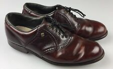 Vtg Mens Footjoy Classics Golf Shoes Brown Saddle 9.5 E WIDE Made In USA Spikes