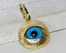 "9ct Yellow Gold ""Evil Eye"" Sun Burst Design Pendant / Charm ~ 1.0 grams"