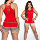 New Sexy Ladies Singlet Style Tank Top Lace Back Size S/M 6 8 10 ~ Red