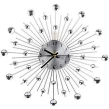 Modern Art Diamante Crystal Wall Clock Metal Sunburst Beaded Jeweled Decor 33cm