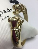 Kate Spade New York 12 K Gold Plated Puppy Dog Hinged Cuff w/KS Dust Bag New