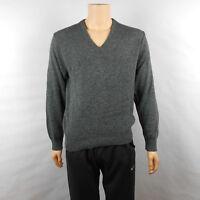 Vtg Jantzen Mens  V Neck Dark Gray Long Sleeve Sweater Sz L Large