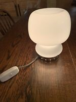 Murano 70s Space Age 'Lattimo' Glass and Chrome Table/Bedside Lamp, Vintage MCM