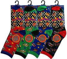 6 Pairs Girls Boys Character Cotton Socks Childrens Kids Novelty Comic Designer
