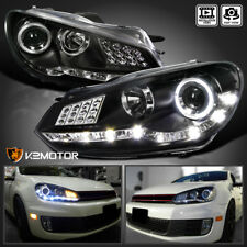 For 2009-2012 VW Golf GTI MK6 Black LED Halo Projector Headlights PAIR