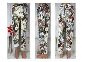 ITALY Damen Hose Jeggings Jogpants Leggings Stretch Italy Muster Lustig 44 46 48