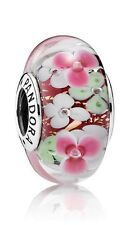 Pandora Murano Glass Flower Garden charm bead Silver s925 Ale 791652 New