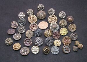 Lot Antique Mirrored Buttons Reflective Backing