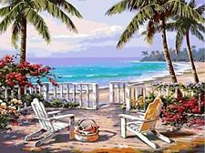 """Diy Paint by Number Kit with Framed Canvas 16"""" x 20"""" Cottage on the beach"""