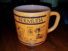 Vintage Federal Milk Glass Orange Bermuda Island Souvenir Vacation Mug VGUC