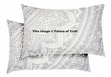 2 PC Silver Ombre Mandala Pillow Slip Pair Of Indian Cushion Cover Ethnic Hippie