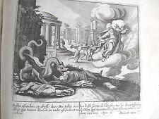 C21-4x Gravure religieuse 17e la bête sortie de l'âbime tue (Apoc 11)