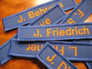 Namensschild dunkelblau orange Feuerwehr Namenschild mit Klett