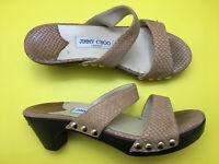 JIMMY CHOO 6.5 7 37 ITALY Fab Nude Beige Leather Studded Wood Heel Slide Sandals