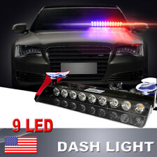 Car 9 LED Red & Blue &White Strobe Emergency Flashing Police Warning Grill Light