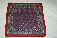E MARINELLA NAPOLI BURGUNDY PAISLEY DESIGN SILK POCKET SQUARE/HANDKERCHIEF