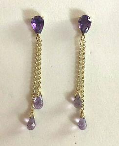 """14k Gold Amethyst Earrings Purple Briolette Chandelier 7.50 Carats 2"""" 2.8g #1019"""