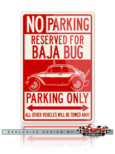 Volkswagen Beetle Baja Bug Reserved Parking Only 12x18 Aluminum Sign - VW Car