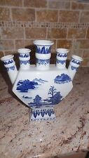 Two's Company Five Finger Vase With House Landscape 12 High 10.5 Wide Used