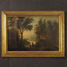 Dipinto antico quadro paesaggio olio su tela cornice antiquariato 800 XIX secolo