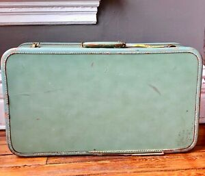 VTG 40'S CORBIN SESAMEE GREEN LEATHER WHITE TOP STITCH HARD SUITCASE LUGGAGE BAG