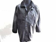 """1860 Wool Lined 100% Real Leather Coat Mens Size L 46"""" Black Grade A Z268"""