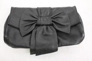 "SAKS FIFTH AVENUE Black Leather ""Bow"" Clutch-B82"