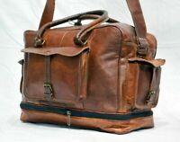Men's Handcrafted Large Travel Bag Genuine Brown Leather Duffel Luggage Weekend