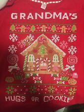 Grandmas Christmas Sweater Hugs And Cookies Ginger Bread House Red Top Medium