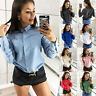 Women Casual OL Shirt Lapel Collar Casual Long Sleeve Botton T Shirt Blouse Tops