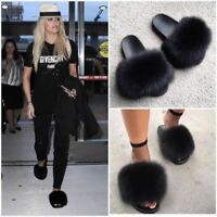Women Real Fur Flat Shoes Fluffy Flip Flop Slippers Sliders Sandals Xmas Gift US
