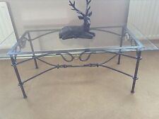 Wrought Iron glass top coffee table 4ftx2ft