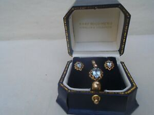 Exquisite 9ct yellow gold & Aquamarine pendant with earrings set   BARTHOLOMEWS