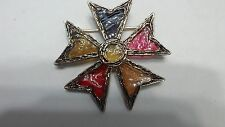 Vintage Stained Glass Maltese 5 Point Star Heraldic Brooch