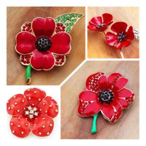 Red Poppy flower brooch - ####
