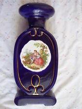 Limoges style Antique  porcelain cobalt blue big vase