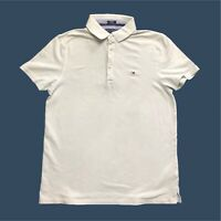 Mens Tommy Hilfiger Polo Shirt Small Custom Fit Short Sleeve Light Grey
