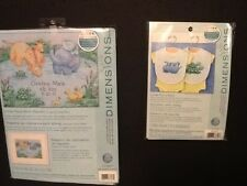 Dimensions NEW Lot of 2 Little Pond Cross Stitch Birth Record and Set of 2 Bibs