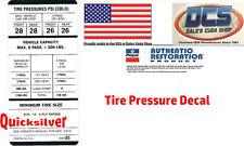 1969 Dart Barracuda E70x14 Tire Pressure Label 3400485 New MoPar USA