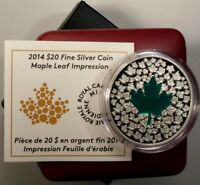 Canada 1 oz  Silver 20 Dollars 2014 UNC Maple Green Leaf with Box & COA