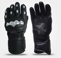 Men Thermal Lining Motorbike Riding Genuine Leather Gloves Steel Knuckle Protect