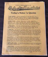 1983 Ncaa Football Minnesota Gophers Football Press Release vs Wisconsin Al Toon