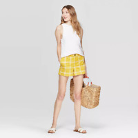 A New Day 38171 Women's Plaid High-Rise Chino Shorts, Size 10, Yellow/White