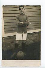 Teenage Basketball Player RPPC Antique Sports Photo Boy ca. 1910s