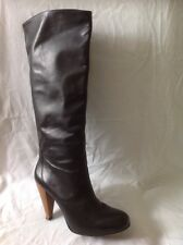 Zara Black Knee High Leather Boots Size 40
