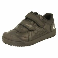 Leather Shoes for Boys School Shoes with Hook & Loop Fasteners