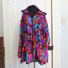 Vintage Speedo Jacket 80s 90s Colorful Size XL Ladies Print Hooded Athletic
