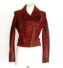 AZZEDINE ALAIA Jacket Motorcycle Baby Calf Red Leopard 42 / 8 nwt