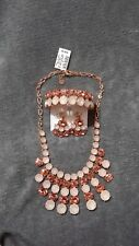 NWT Charter Club Pink Stone Necklace, Bracelet, Earring Set